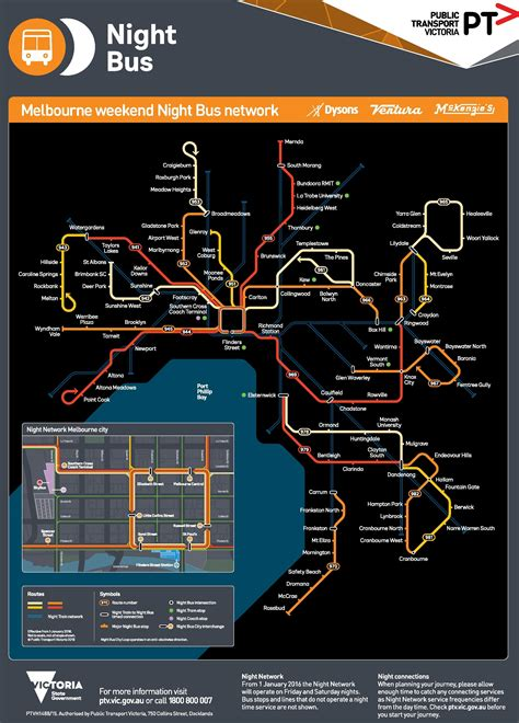 Melbourne night bus map