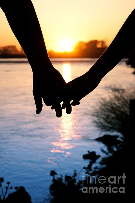 Holding Hands Silhouette Greeting Card for Sale by Cindy