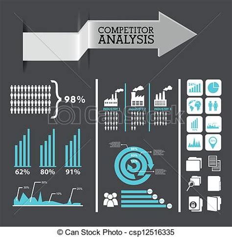 Vectors of competitor analysis infographics, blue and gray
