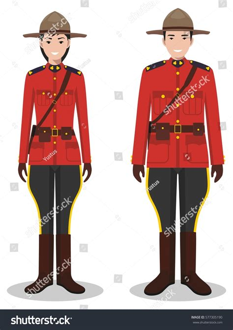 Couple Canadian Policeman Policewoman Traditional Red