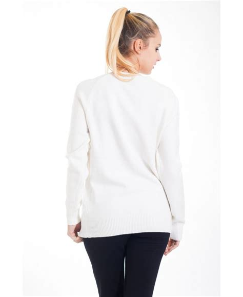 PULL MAILLE ECRITURE 4404 BLANC - grossiste-pret-a-porter