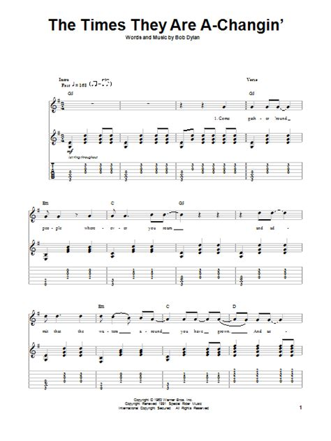 The Times They Are A-Changin'   Sheet Music Direct