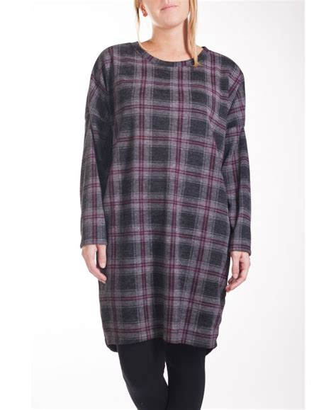 GRANDE TAILLE PULL ROBE CARREAUX 4245 GRIS - grossiste
