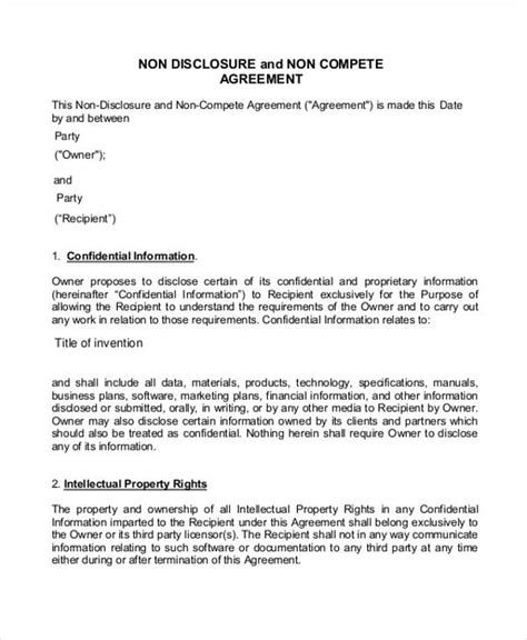 Non Compete Agreement - 11+ Free Word, PDF Documents