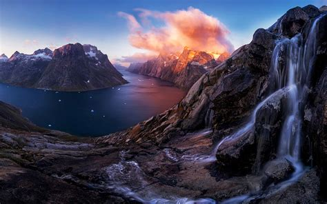 Download wallpapers Greenland, fjord, sunset, waterfall